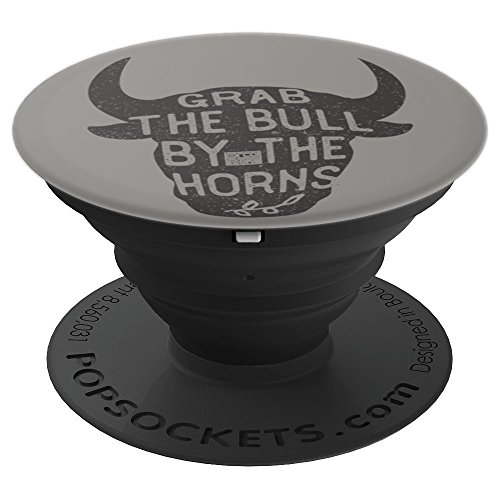 VINTAGE INSPIRATION GRAB BULL HORNS RODEO COW RIDING - PopSockets Grip and Stand for Phones and Tablets ()