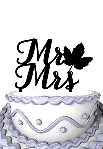 Fall Wedding Cake Topper - Meijiafei Wedding Cake Topper - Mr and Mrs With Fall Leaf