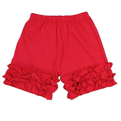 Wennikids Baby Little Girls Short Cotton Icing Ruffle Shorts Medium Red