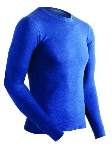 ColdPruf Men's Authentic Dual Layer Long Sleeve Crew Neck Base Layer Top, Navy, Large