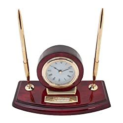 Manhattanville Executive Wood Clock and Pen Stand 'Wordmark Engraved'