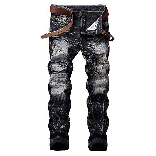 Slim Uomo Pantaloni Stretch Nero Strappati Fit Jeans Especial Estilo Vintage Z1EU7wwqx