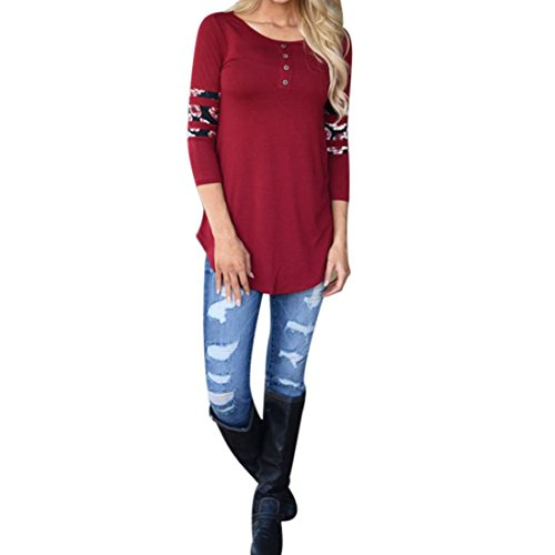 Women Tops, Familizo Women Print Long Sleeve Loose T-Shirt Red