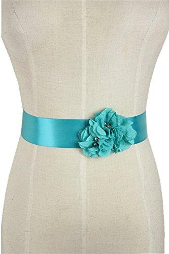 Lemandy Three Handmade Flowers Romantic Wedding Evening Dress Belts (Blue)
