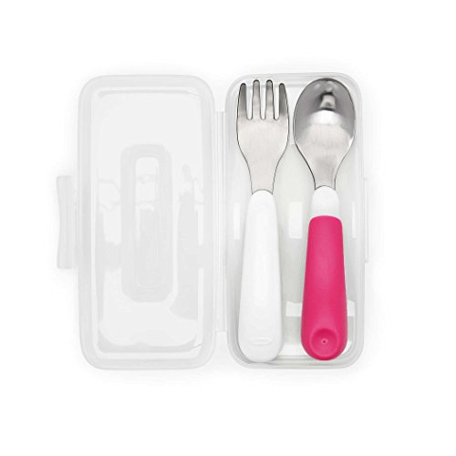 Set Case Lunch (OXO Tot On-The-Go Fork & Spoon Set with Carrying Case, Pink)