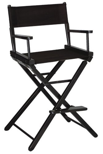 Gold Medal 30'' Bar Height Black Frame Directors Chair (Black)