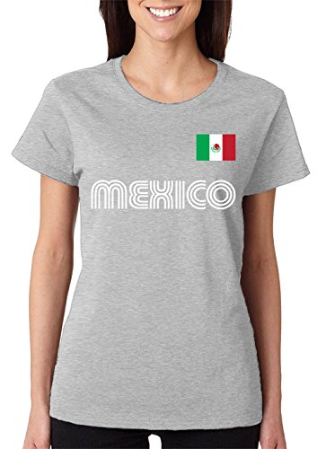 (SpiritForged Apparel Mexico Soccer Jersey Women's T-Shirt, Light Gray Large)