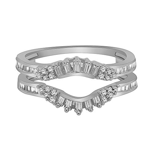 (OMEGA JEWELLERY 0.34 Ct Round & Baguette Shape Natural Diamond 14K White Gold Enhancer Wrap Guard Ring Sz-7)