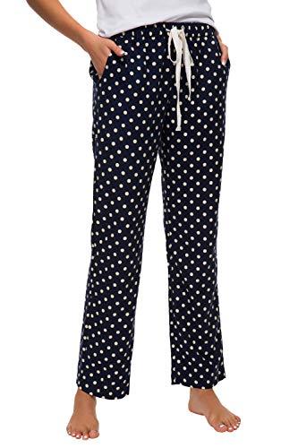 Urban CoCo Women's Cotton Polka Dot Home Lounge Pajama Pants (XL, Navy Blue)