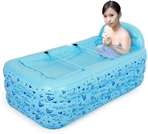 WZHZJ インフレータブル風呂浴槽ポータブル浴槽大人用ポータブル環境浴槽浴槽浴槽大人用エアーポンプブルー