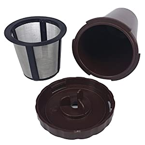 Q K-Cup Holder | Reusable Coffee Filter Replacement Part Set for Keurig B30 B40 B50 B60 B70 K10 K45 K65 K75 Series | PP with Stainless Steel Mesh for Ground Coffee Hot Beverage Brewer | Brown | 1490