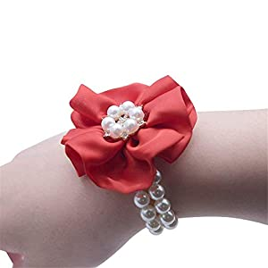 Silk Flower Arrangements Flonding Wedding Bridal Wrist Corsage Bride Wrist Flower Corsages Pearl Stretch Bracelet Wristband for Girl Bridesmaid Prom Homecoming Hand Flowers Decor (Red, Pack of 4)