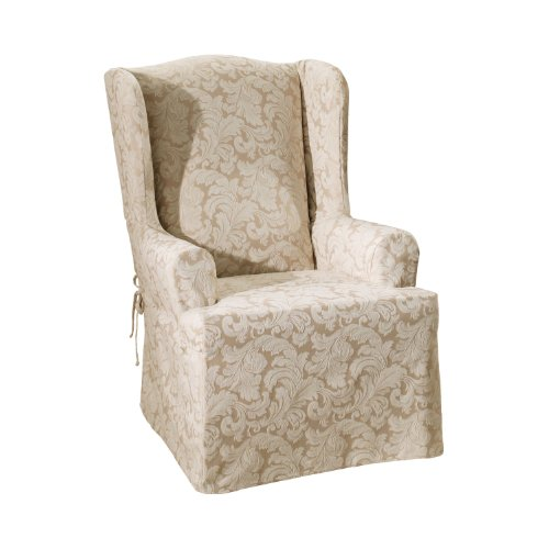 Chair Slipcover Champagne (Sure Fit Scroll - Wing Chair Slipcover  - Champagne (SF30107))