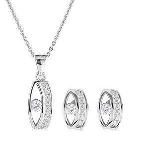 AK Jewels Silver with Zircon Jewelry Set -3 Pieces, HSET145
