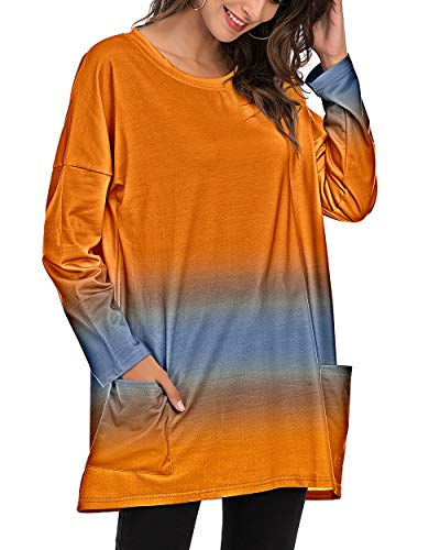 CIZITZZ Women Casual Loose Fit Tunic Top Baggy Comfy Graphic Blouse with Pockets,PO,L