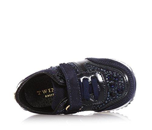 Twin Set Blaue Schuhe Aus Wildleder und Leder, mit Klettverschluss, Dekorative Schnürsenkel, Mädchen