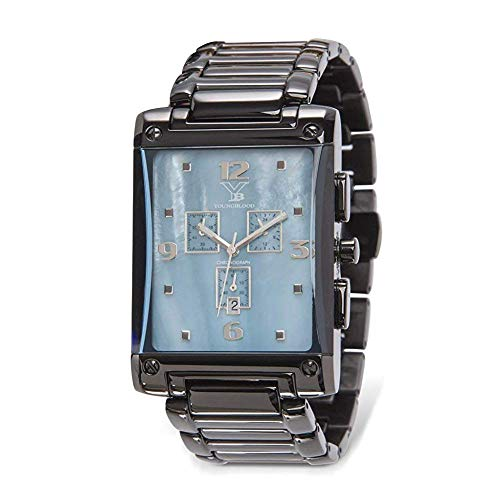 Youngblood Men's Oakland XIII Watch - Stainless Steel Japanese Movement Rectangle Chronograph with Iron Plated Link Band - Blue Mother of Pearl Dial and Black Link Band (Sport Mother Of Pearl Dial)