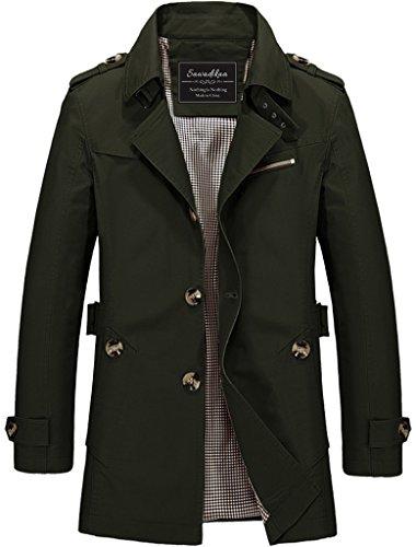 Sawadikaa Men's Single-Breasted Cotton Lightweight Jacket Windbreaker Wind Trench Coat Outdoor Jacket Army Green -