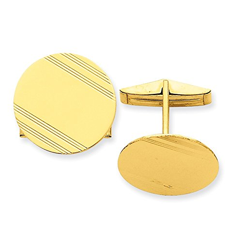 14k Yellow Gold Circlular Cuff Links with Linear Detail by CoutureJewelers