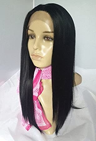 14 Lob Lace Front Wig Darkest Brown 2 Long Bob Hairstyle Silky Straight Hair Synthetic Kanekalon Heat Friendly Fire Resistant Fiber Glueless For