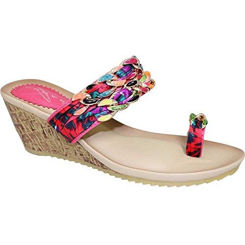 Saphir Boutique jlh690Arizona Damen Vibrant Kette Toe Loop Medium Keile Rutsch Auf Sandale Rose