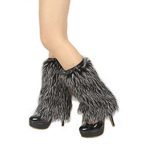 Ibeauti Womens Furry Leg Warmers Super Soft Rainbow Boots Shoes Cuffs Covers (Small: Length: 7.9