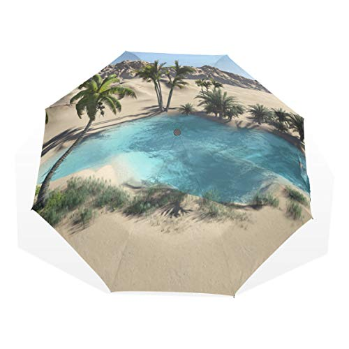 Rain Wind Umbrella Oasis In The Desert 3 Fold Art Umbrellas(outside Printing) Large Umbrella Rain Large Rain Umbrella Cute Compact Umbrella (Desert Glass Winds Art)