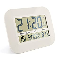 CIGERA 11 Battery Operated Digital Clock,Can be Wall Clock or Desk Clock with Alarm,Snooze,Indoor Temperature and Calendar,White