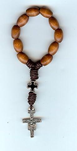 Wood Tau Franciscan Pocket Rosary with San Damiano Cross - Franciscans San Damiano