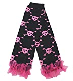 Light Pink Skull Black Cotton Leg Warmer Socks Accessory for Halloween 2-6y