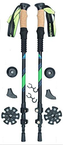 Motion & Flow Premium Light Weight Trekking Poles/Collapsible Hiking Poles/For Women/Men/Hiking/Trekking With Sweat Absorbing Natural Cork Grips, Quick Lock Adjustment, All Terrain Accessories. (Trekking Light)