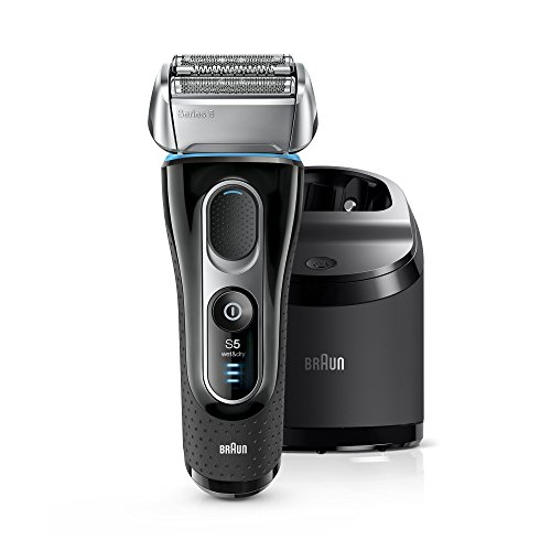 Braun Series 5 Men's Electric Foil Shaver with Wet & Dry Integrated Precision Trimmer & Rechargeable and Cordless Razor with Clean&Charge Station and Travel Case, 5195cc (Braun Shaver Corded)