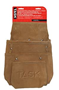 Task Tools T77207 Tradesperson's Leather Nail/Tool/Drywall Pouch, 3-Pocket