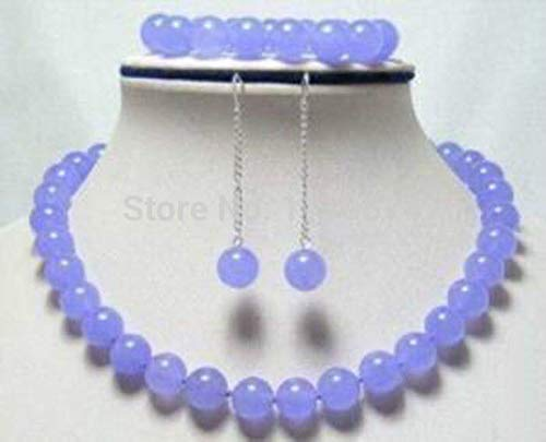 Hot New Fashionable Natural Lavender Chalcedony Round Bead Necklaces, Bracelets, Earrings | Hand Made Jewelry Sets (10mm)
