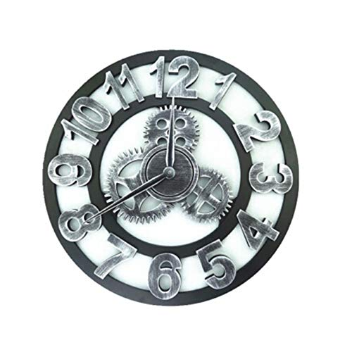 BEAMNOVA Non Ticking Gear Wall Clock Retro Decorative Rustic Vintage Style Round Timer, Silver Arabic 12 Inch (Wall Industrial Clock)