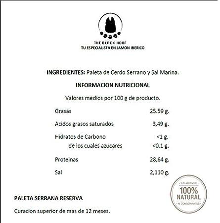 2,2 Kg Paleta Serrana Deshuesada RESERVA 100% Natural con mas de 12 meses de curacion - Jamon Serrano Deshuesado