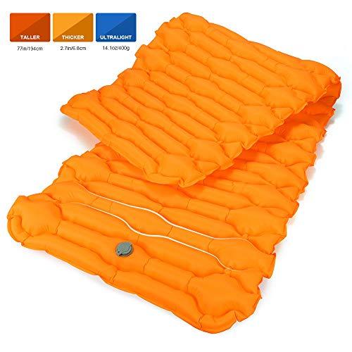 Bessport Isomatte Camping Schlafmatte, 6.8 cm Dicke (Groß, Breit) Isomatte Ultraleicht Kleines Packmaß. Aufblasbare Luftmatratze für Outdoor Camping, Reise,Trekking und Backpacking