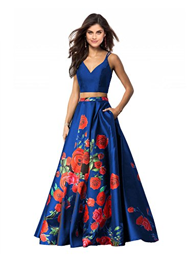 ac861e3bad Lily Wedding Womens 2 Piece Floral Printed Prom Dresses 2019 Long Formal  Evening Ball Gowns with