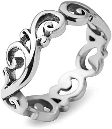 925 Sterling Silver Filigree Curves Swirl Pattern Wave Design Tribal Band Ring - Nickel Free