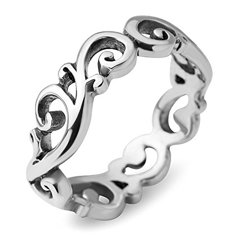 (Chuvora 925 Sterling Silver Filigree Curves Swirl Pattern Wave Design Tribal Band Ring Size 8 - Nickel Free)