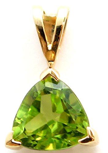 14K Solid Yellow Gold Trillion cut Genuine Peridot ()