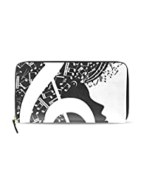 Womens Music Note Pattern Long Wallet & Purse Case Card Holder