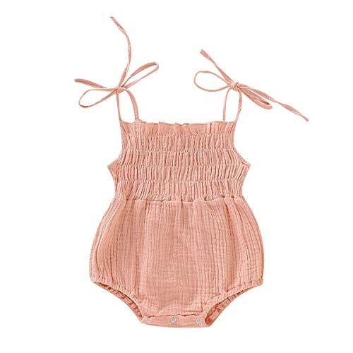 ZOELNIC Baby Girls Sleeveless Romper Toddler Girl Floral Bow Halter + Headband (Pink, 0-3 Months)