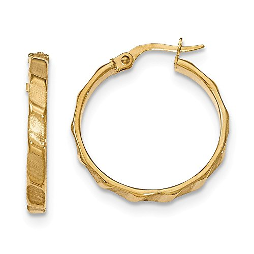 3 mm Satin and Polished Hoop Earrings in Genuine 14k Yellow Gold - 25 mm 14k Yellow Gold Satin Hoop