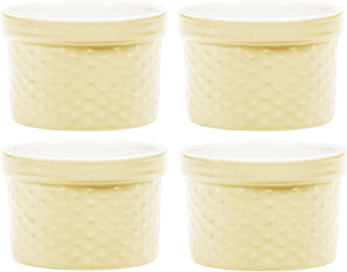 Yellow Bakeware Set (Round Porcelain Ramekin Dessert Dish, Set of 4 - Oven Safe Souffle Baking Dish, 8-oz (Pastel Yellow))