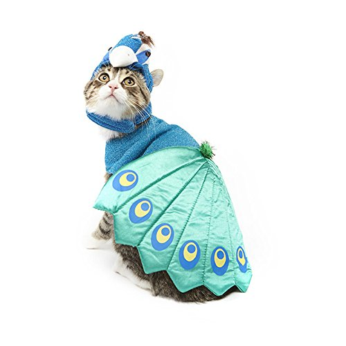 JinPet Dog Halloween Costume Blue Pet Peacock Hat For Small Dogs Cats (Cat Halloween Costumes For Pets)