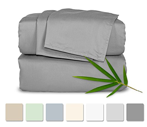 ing 4pc Bed Sheet Set - 100% Bamboo Luxuriously Soft Bed Sheets (King, Stone Grey) ()