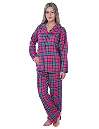 Beverly Rock Womens 100% Cotton Flannel Plaid Pajama SetAvailable in Plus Size