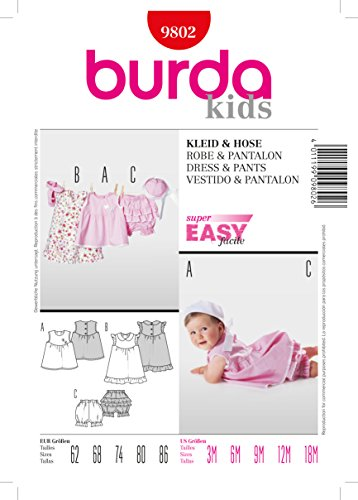 Schnittmuster Burda 9802 Babykleid Gr. 62-86