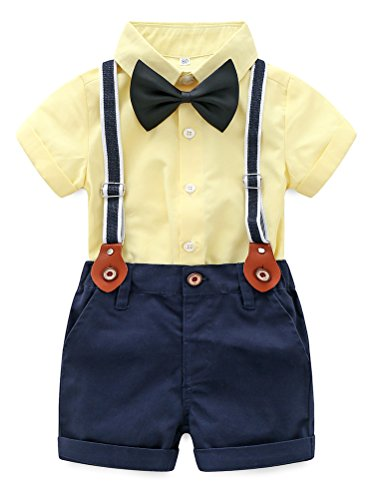Baby Boy Summer Cotton Gentleman Short Sleeve Bowtie Romper Suspenders Shorts Outfit Set Style2 Yellow 95